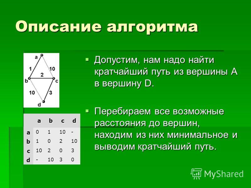 Описание алгоритма Допустим, нам надо найти кратчайший путь из вершины A в вершину D. Допустим, нам надо найти кратчайший путь из вершины A в вершину D. Перебираем все возможные расстояния до вершин, находим из них минимальное и выводим кратчайший пу