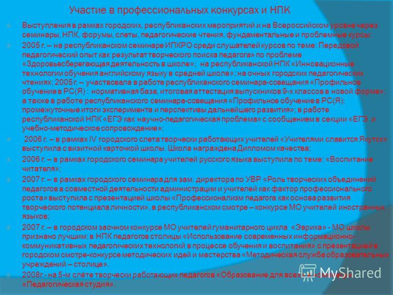 Участие в профессиональных конкурсах и НПК Выступления в рамках городских, республиканских мероприятий и на Всероссийском уровне через семинары, НПК, форумы, слеты, педагогические чтения, фундаментальные и проблемные курсы: 2005 г. – на республиканск