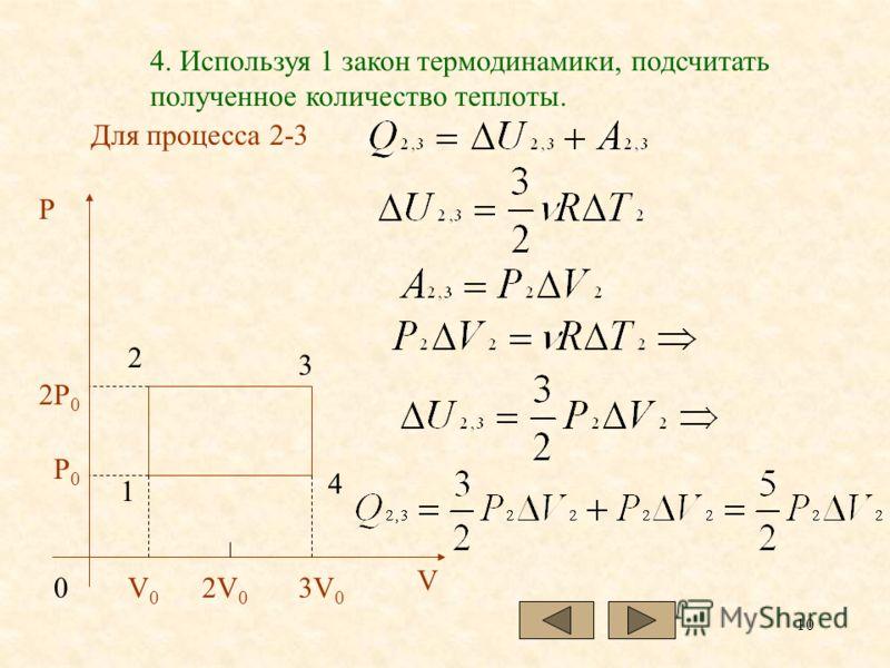 10 4. Используя 1 закон термодинамики, подсчитать полученное количество теплоты. Для процесса 2-3 P2P 0 P0P0 V0V0 03V 0 2V 0 1 2 3 4 V