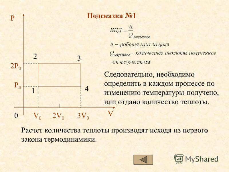 4 Подсказка 1 P 2P 0 P0P0 V0V0 03V 0 2V 0 1 2 3 4 V Следовательно, необходимо определить в каждом процессе по изменению температуры получено, или отдано количество теплоты. Расчет количества теплоты производят исходя из первого закона термодинамики.