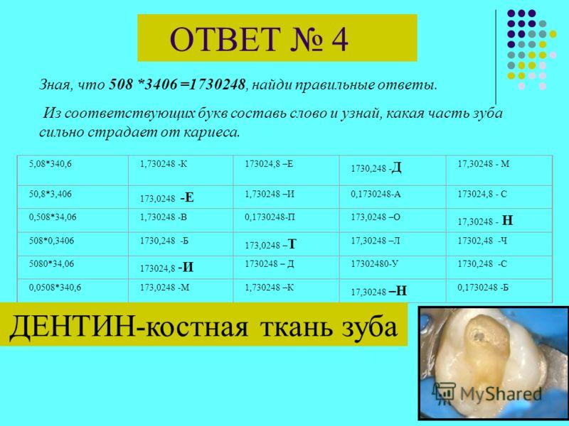 ЗАДАЧА 4 Зная, что 508 *3406 =1730248, найди правильные ответы. Из соответствующих букв составь слово и узнай, какая часть зуба сильно страдает от кариеса. 5,08*340,61,730248 -К173024,8 –Е1730,248 -Д17,30248 - М 50,8*3,406173,0248 -Е1,730248 –И0,1730