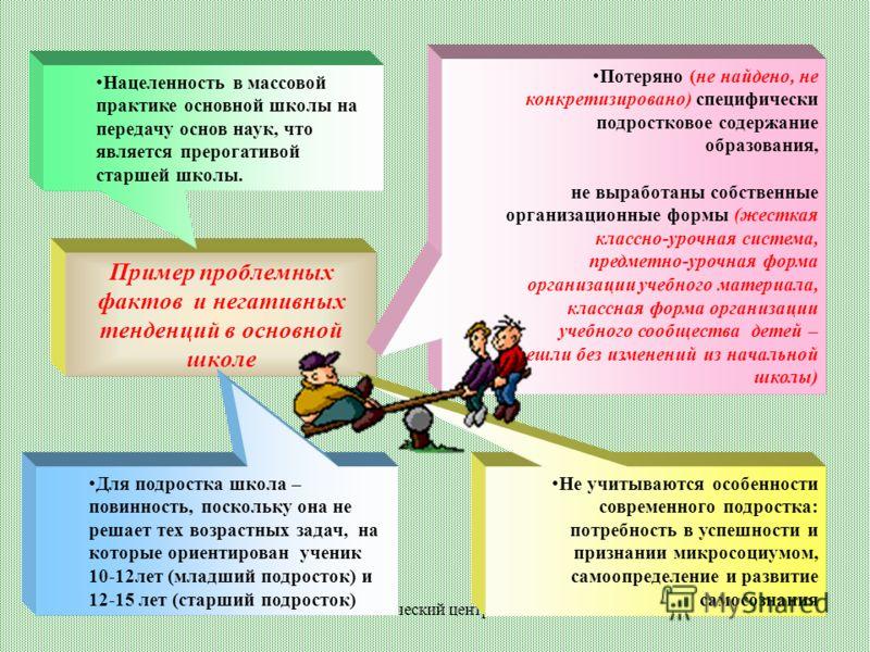 Методический центр 2007 Пример проблемных фактов и негативных тенденций в основной школе Для подростка школа – повинность, поскольку она не решает тех возрастных задач, на которые ориентирован ученик 10-12лет (младший подросток) и 12-15 лет (старший