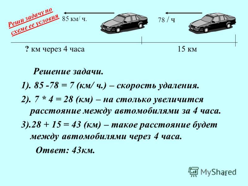 12 Решение задачи. 1). 85 -78 = 7 (км/ ч.) – скорость удаления. 2). 7 * 4 = 28 (км) – на столько увеличится расстояние между автомобилями за 4 часа. 3).28 + 15 = 43 (км) – такое расстояние будет между автомобилями через 4 часа. Ответ: 43км. 15 км 78