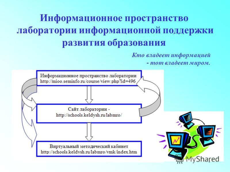 1 Информационное пространство лаборатории информационной поддержки развития образования Кто владеет информацией - тот владеет миром.