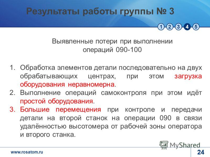 www.rosatom.ru 12345 24 1.Обработка элементов детали последовательно на двух обрабатывающих центрах, при этом загрузка оборудования неравномерна. 2.Выполнение операций самоконтроля при этом идёт простой оборудования. 3.Большие перемещения при контрол