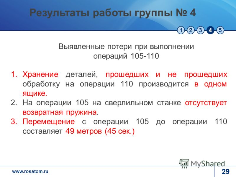www.rosatom.ru 12345 29 1.Хранение деталей, прошедших и не прошедших обработку на операции 110 производится в одном ящике. 2.На операции 105 на сверлильном станке отсутствует возвратная пружина. 3.Перемещение с операции 105 до операции 110 составляет