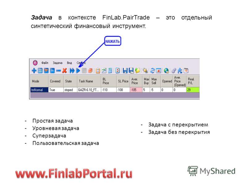 Задача в контексте FinLab.PairTrade – это отдельный синтетический финансовый инструмент. -Простая задача -Уровневая задача -Суперзадача -Пользовательская задача -Задача с перекрытием -Задача без перекрытия