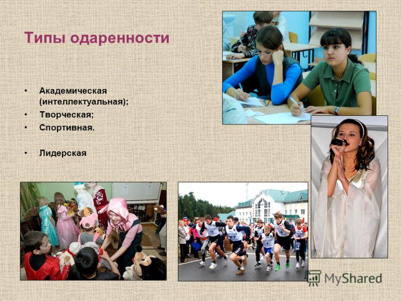 Типы одаренности Академическая (интеллектуальная); Творческая; Спортивная. Лидерская
