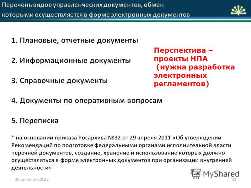 13 Перспектива – проекты НПА (нужна разработка электронных регламентов) 20 сентября 2012 г.