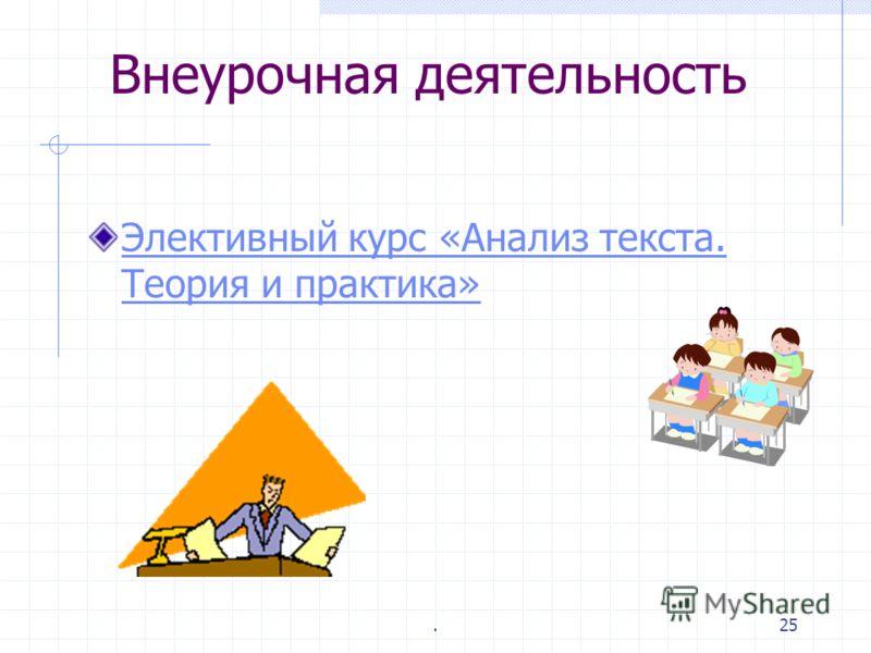 .24 Интернет – источник информации www.rus.1september.ru www.lit.1september.ru www.rus.1september.ru/urok/ www.lit.1september.ru/urok/ www.gramota.ru www.ege.edu.ru www.litera.ru/stixiya/vek www.bulgakov.ru www.tsvetaeva.km.ru