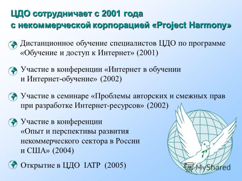 ЦДО сотрудничает с 2001 года с некоммерческой корпорацией «Project Harmony» Участие в семинаре «Проблемы авторских и смежных прав при разработке Интернет-ресурсов» (2002) Участие в конференции «Интернет в обучении и Интернет-обучение» (2002) Дистанци