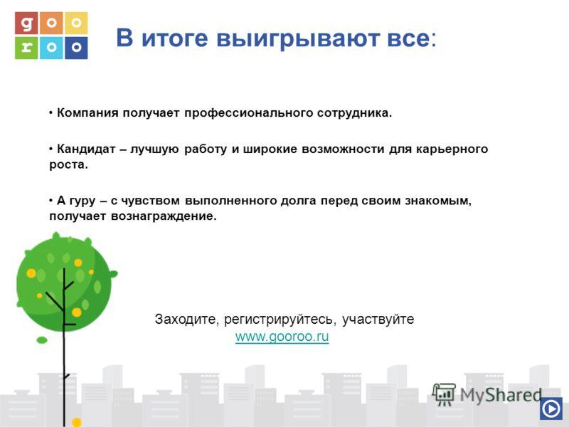 Заходите, регистрируйтесь, участвуйте www.gooroo.ru В итоге выигрывают все: Компания получает профессионального сотрудника. Кандидат – лучшую работу и широкие возможности для карьерного роста. А гуру – с чувством выполненного долга перед своим знаком