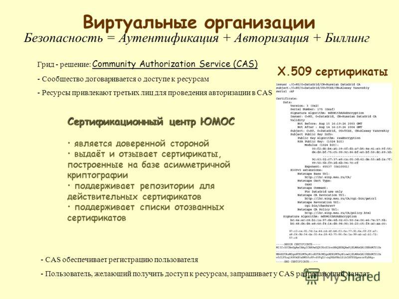 Грид - решение: Community Authorization Service (CAS) - Сообщество договаривается о доступе к ресурсам - Ресурсы привлекают третьих лиц для проведения авторизации в CAS Виртуальные организации Безопасность = Аутентификация + Авторизация + Биллинг - C