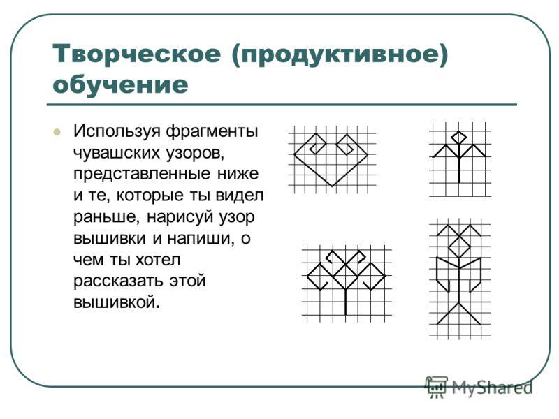 Творческое (продуктивное) обучение Используя фрагменты чувашских узоров, представленные ниже и те, которые ты видел раньше, нарисуй узор вышивки и напиши, о чем ты хотел рассказать этой вышивкой.