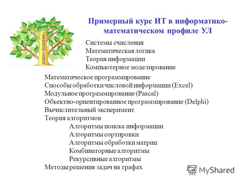 Примерный курс ИТ в информатико- математическом профиле УЛ Математическое программирование Способы обработки числовой информации (Excel) Модульное программирование (Pascal) Объектно-ориентированное программирование (Delphi) Вычислительный эксперимент