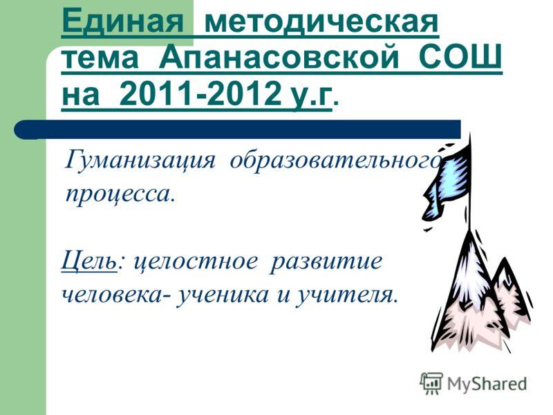 Единая методическая тема Апанасовской СОШ на 2011-2012 у.г. Гуманизация образовательного процесса. Цель: целостное развитие человека- ученика и учителя.