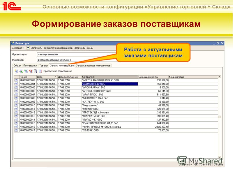 Основные возможности конфигурации «Управление торговлей + Склад» Формирование заказов поставщикам Работа с актуальными заказами поставщикам