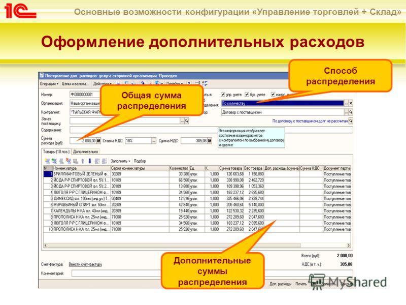 Основные возможности конфигурации «Управление торговлей + Склад» Оформление дополнительных расходов Общая сумма распределения Способ распределения Дополнительные суммы распределения