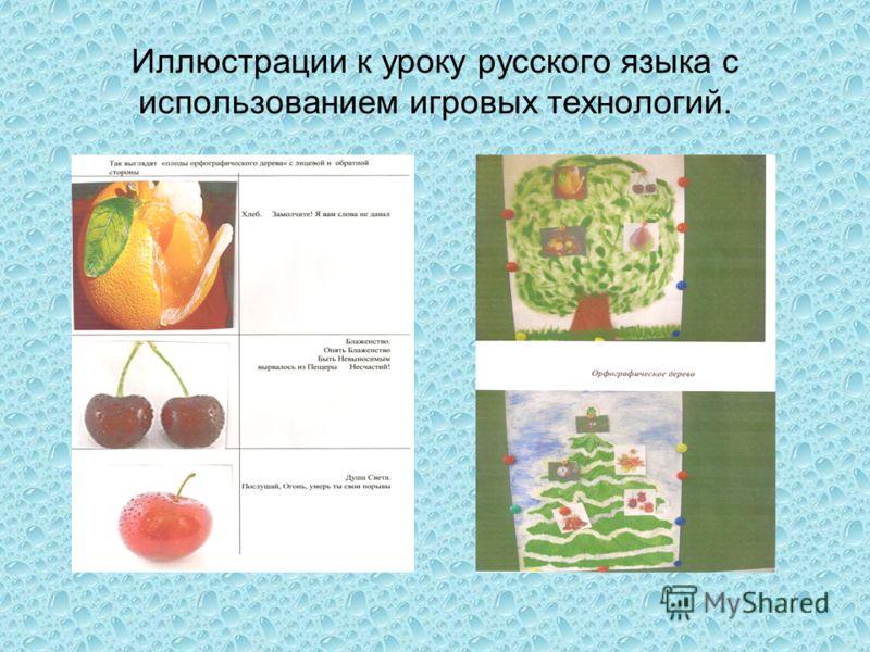 Иллюстрации к уроку русского языка с использованием игровых технологий.