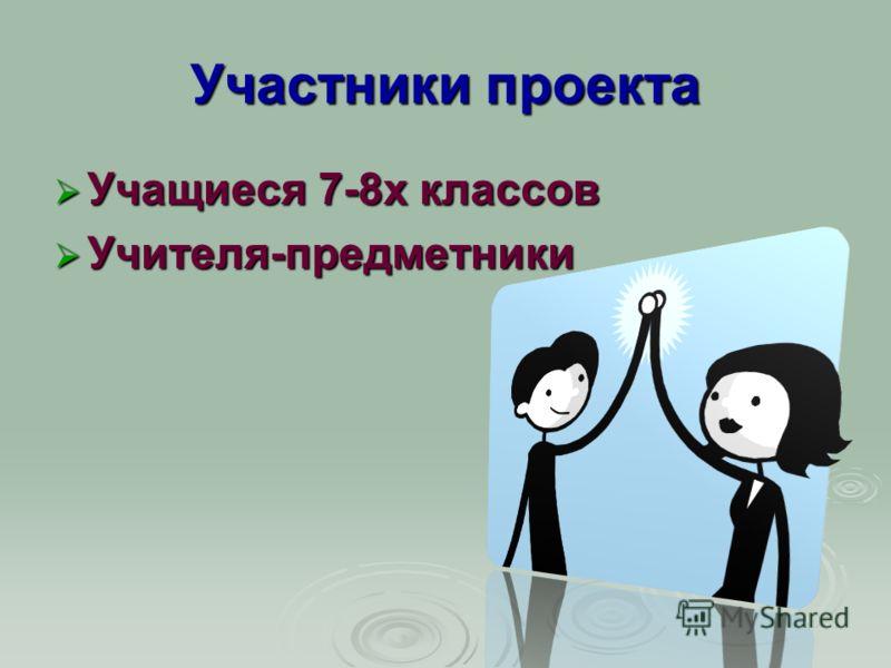 Участники проекта Учащиеся 7-8х классов Учащиеся 7-8х классов Учителя-предметники Учителя-предметники