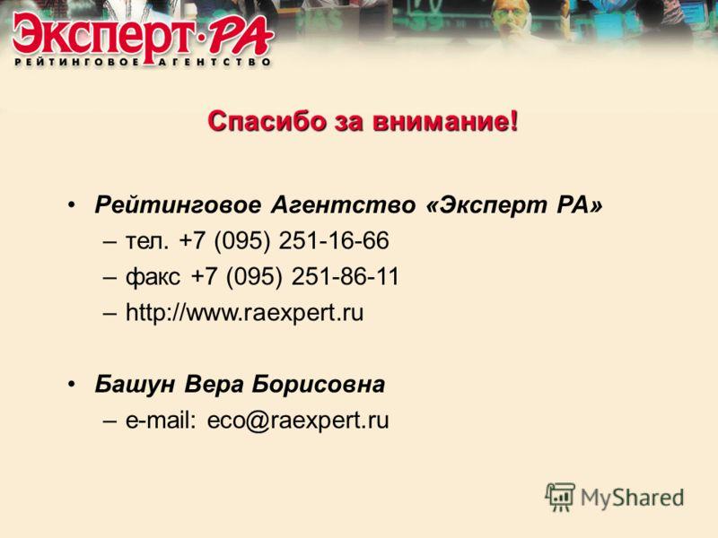 Рейтинговое Агентство «Эксперт РА» –тел. +7 (095) 251-16-66 –факс +7 (095) 251-86-11 –http://www.raexpert.ru Башун Вера Борисовна –e-mail: eco@raexpert.ru Спасибо за внимание!