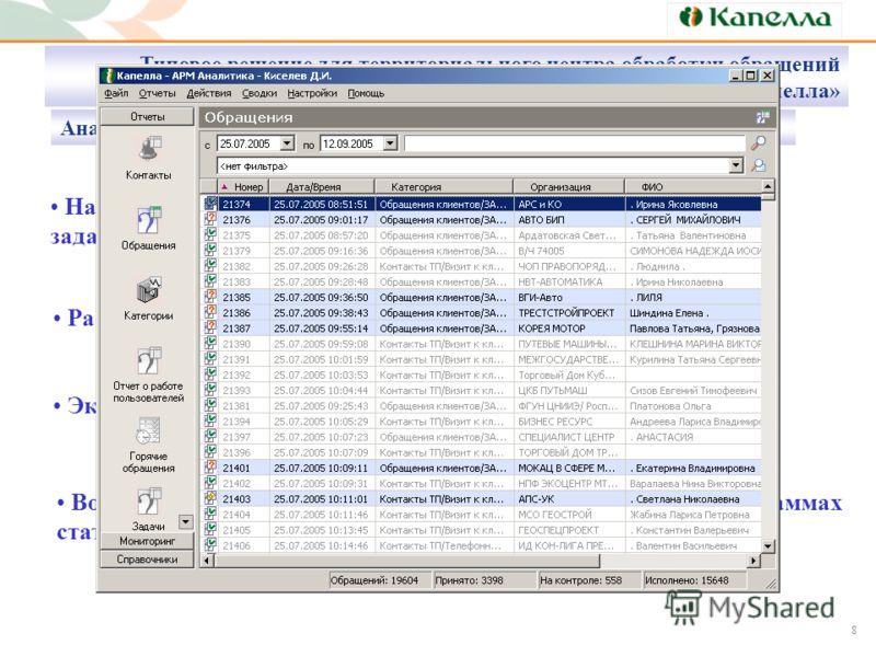 8 Настраиваемые отчеты по клиентам, контактам, обращениям, задачам, сотрудникам Расширенные аналитические запросы Экспорт отчетных данных в MS Excel Возможность дальнейшей обработки и анализа данных в программах статистического и многомерного анализа