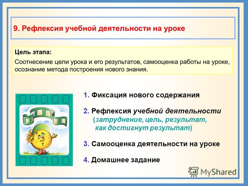1. Фиксация нового содержания 2. Рефлексия учебной деятельности (затруднение, цель, результат, как достигнут результат) 3. Самооценка деятельности на уроке 4. Домашнее задание
