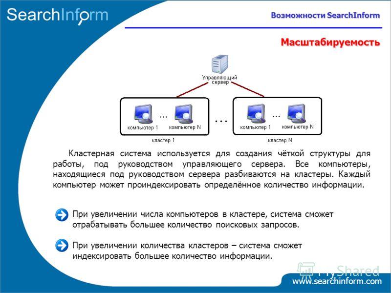 www.searchinform.com Масштабируемость Кластерная система используется для создания чёткой структуры для работы, под руководством управляющего сервера. Все компьютеры, находящиеся под руководством сервера разбиваются на кластеры. Каждый компьютер може