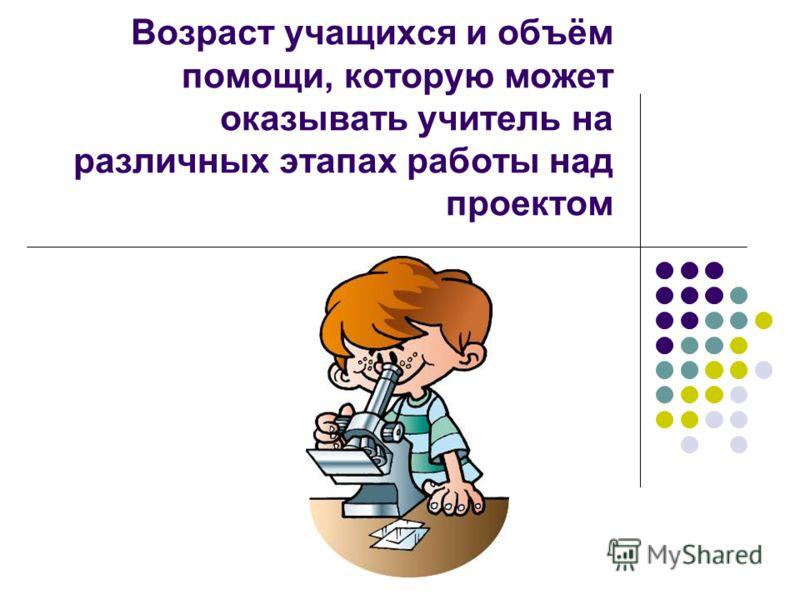 Возраст учащихся и объём помощи, которую может оказывать учитель на различных этапах работы над проектом