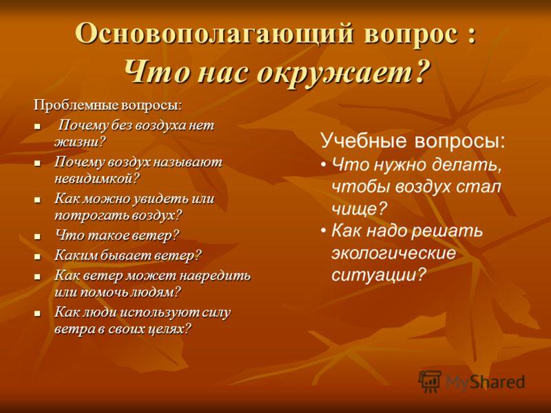 Учебный план проекта Познавательное занятие «Что такое воздух?» Познавательное занятие «Что такое воздух?» Первый этап (1 вводное занятие, беседы, экскурсии и наблюдения за живой и неживой природой). Презентация проекта воспитателя, формулировка осно