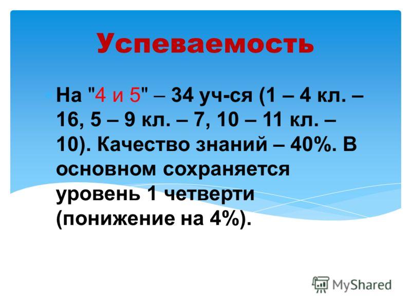 Успеваемость На 4 и 5 – 34 уч-ся (1 – 4 кл. – 16, 5 – 9 кл. – 7, 10 – 11 кл. – 10). Качество знаний – 40%. В основном сохраняется уровень 1 четверти (понижение на 4%).
