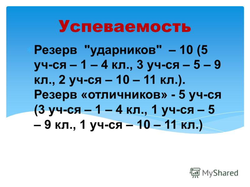 Успеваемость Резерв ударников – 10 (5 уч-ся – 1 – 4 кл., 3 уч-ся – 5 – 9 кл., 2 уч-ся – 10 – 11 кл.). Резерв «отличников» - 5 уч-ся (3 уч-ся – 1 – 4 кл., 1 уч-ся – 5 – 9 кл., 1 уч-ся – 10 – 11 кл.)