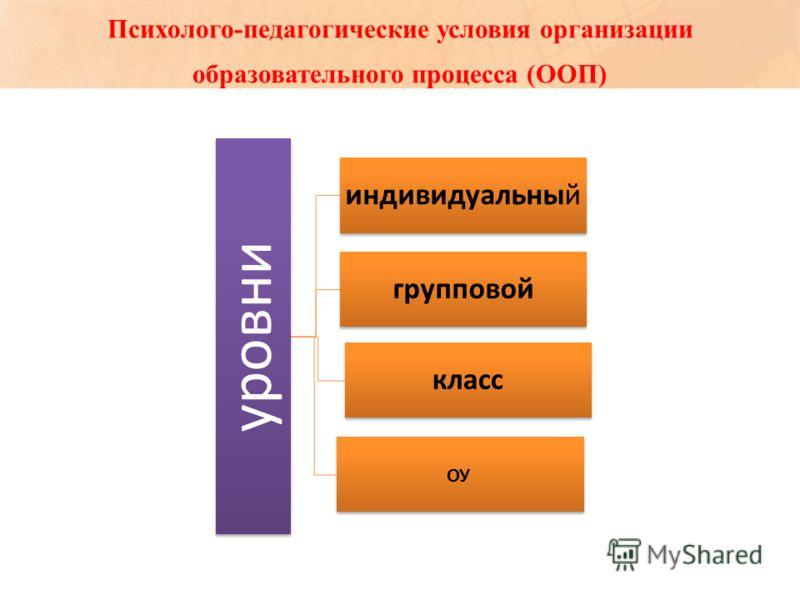 Психолого-педагогические условия организации образовательного процесса (ООП) уровни индивидуальный групповой класс ОУ