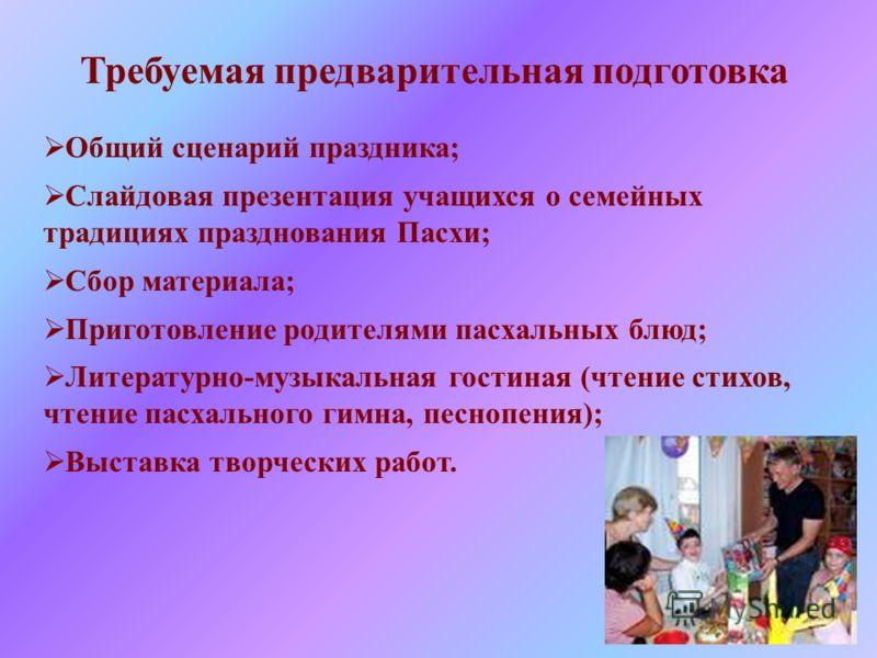 Требуемая предварительная подготовка Общий сценарий праздника; Слайдовая презентация учащихся о семейных традициях празднования Пасхи; Сбор материала;