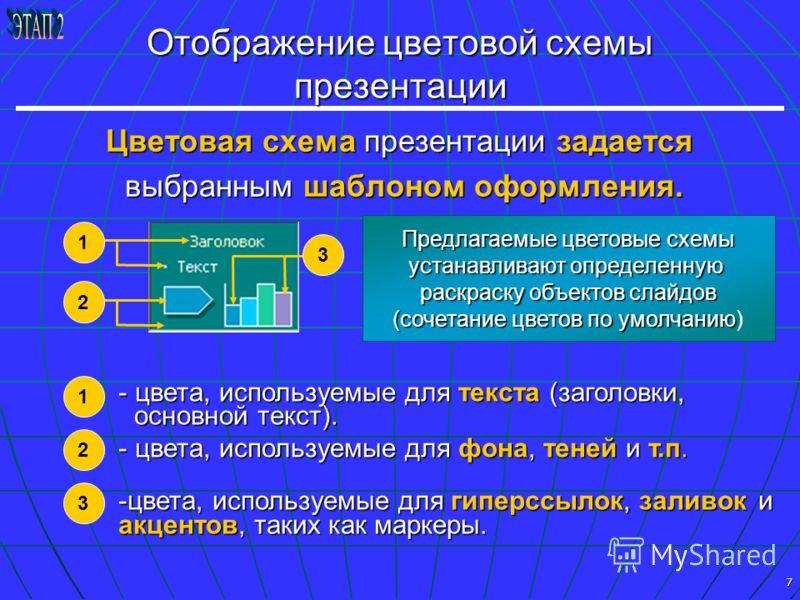 7 Отображение цветовой схемы презентации Цветовая схема презентации задается выбранным шаблоном оформления. выбранным шаблоном оформления. - цвета, используемые для текста (заголовки, основной текст). - цвета, используемые для фона, теней и т.п. -цве