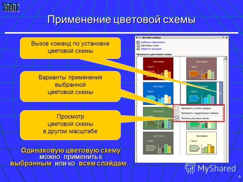 8 Применение цветовой схемы Одинаковую цветовую схему можно применить к выбранным или ко всем слайдам. Варианты применения выбранной цветовой схемы Просмотр цветовой схемы в другом масштабе Вызов команд по установке цветовой схемы