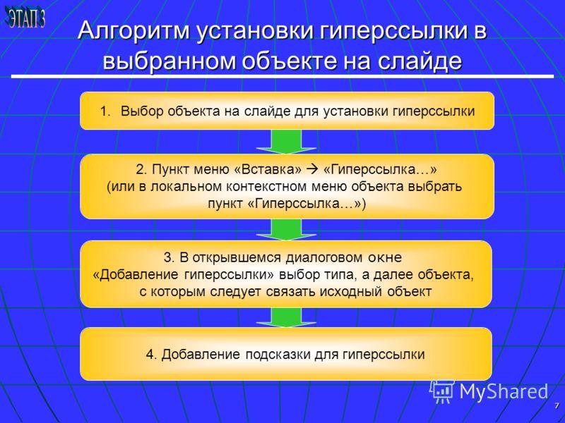 7 Алгоритм установки гиперссылки в выбранном объекте на слайде 4. Добавление подсказки для гиперссылки 3. В открывшемся диалоговом окне «Добавление гиперссылки» выбор типа, а далее объекта, с которым следует связать исходный объект 1.Выбор объекта на