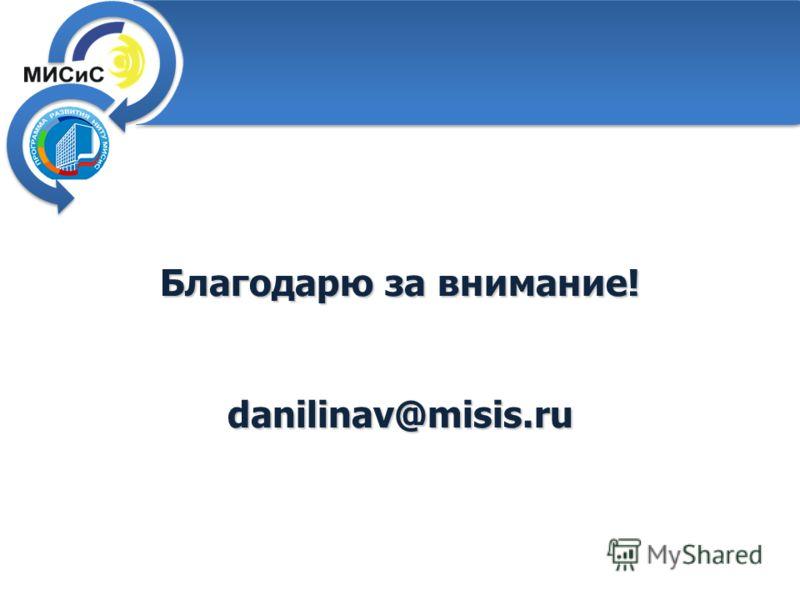 Благодарю за внимание! danilinav@misis.ru