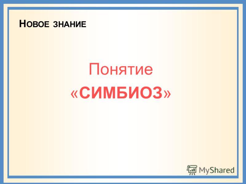 Н ОВОЕ ЗНАНИЕ Понятие «СИМБИОЗ»