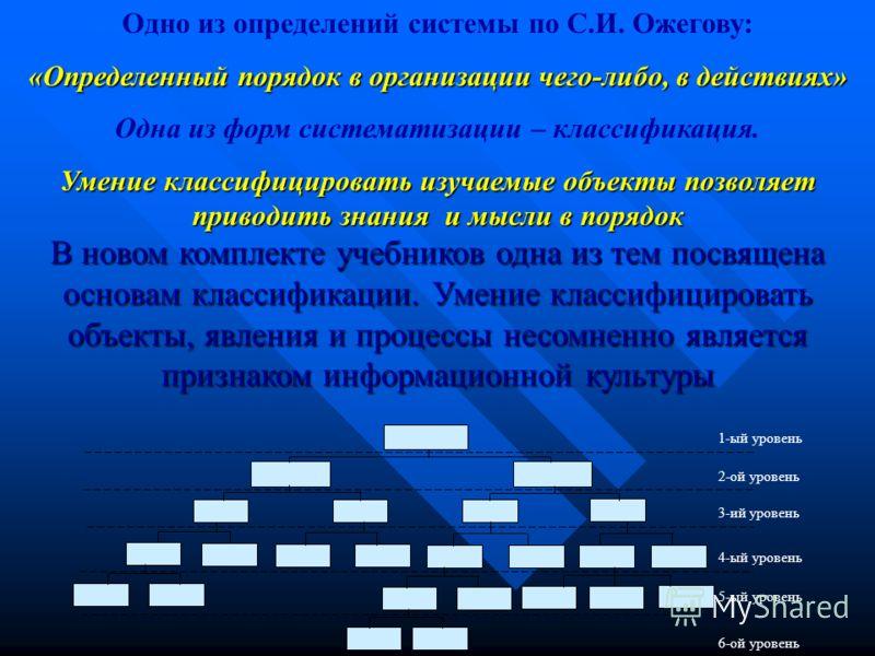 Одно из определений системы по С.И. Ожегову: «Определенный порядок в организации чего-либо, в действиях» Одна из форм систематизации – классификация. Умение классифицировать изучаемые объекты позволяет приводить знания и мысли в порядок В новом компл
