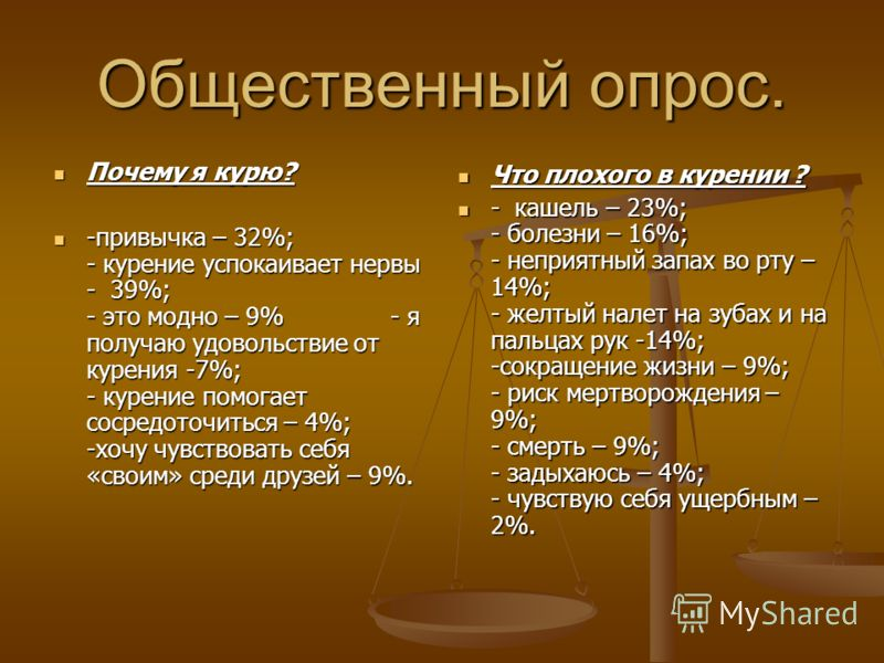 Общественный опрос. Почему я курю? Почему я курю? -привычка – 32%; - курение успокаивает нервы - 39%; - это модно – 9% - я получаю удовольствие от курения -7%; - курение помогает сосредоточиться – 4%; -хочу чувствовать себя «своим» среди друзей – 9%.