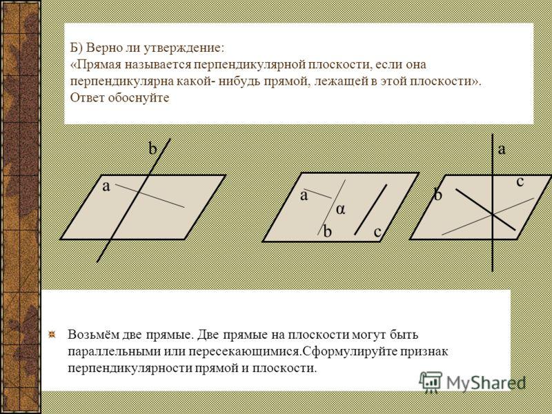 Б) Верно ли утверждение: «Прямая называется перпендикулярной плоскости, если она перпендикулярна какой- нибудь прямой, лежащей в этой плоскости». Ответ обоснуйте Возьмём две прямые. Две прямые на плоскости могут быть параллельными или пересекающимися