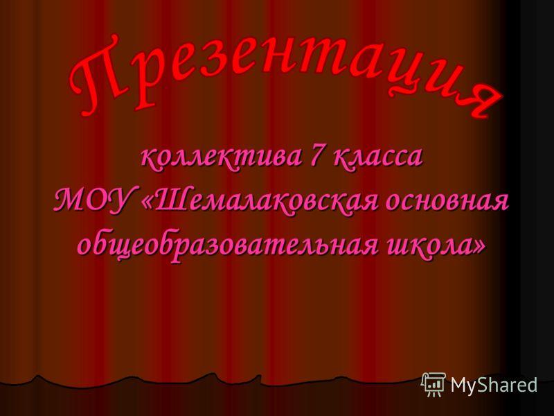 коллектива 7 класса МОУ «Шемалаковская основная общеобразовательная школа»
