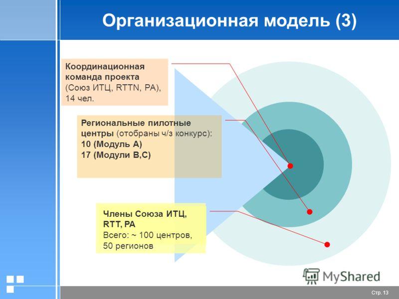 Стр. 13 Организационная модель (3) Координационная команда проекта (Союз ИТЦ, RTTN, РА), 14 чел. Региональные пилотные центры (отобраны ч/з конкурс): 10 (Модуль A) 17 (Модули B,C) Члены Союза ИТЦ, RTT, РА Всего: ~ 100 центров, 50 регионов