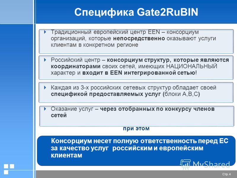 Стр. 4 Специфика Gate2RuBIN Традиционный европейский центр EEN – консорциум организаций, которые непосредственно оказывают услуги клиентам в конкретном регионе Российский центр – консорциум структур, которые являются координаторами своих сетей, имеющ