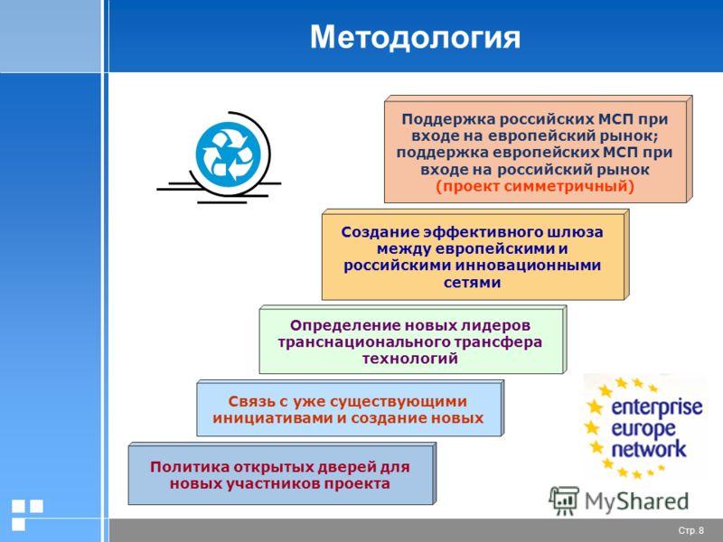 Стр. 8 Методология Поддержка российских МСП при входе на европейский рынок; поддержка европейских МСП при входе на российский рынок (проект симметричный) Определение новых лидеров транснационального трансфера технологий Связь с уже существующими иниц
