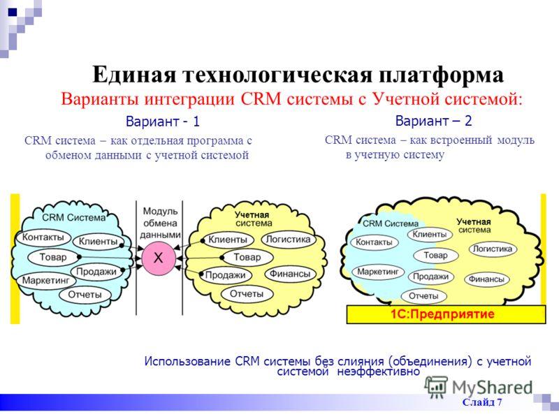 Единая технологическая платформа Использование CRM системы без слияния (объединения) с учетной системой неэффективно Вариант - 1 CRM система – как отдельная программа с обменом данными с учетной системой Вариант – 2 CRM система – как встроенный модул