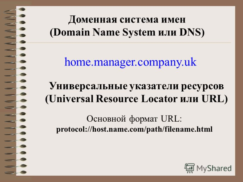 Доменная система имен (Domain Name System или DNS) home.manager.company.uk Универсальные указатели ресурсов (Universal Resource Locator или URL) Основной формат URL: protocol://host.name.com/path/filename.html