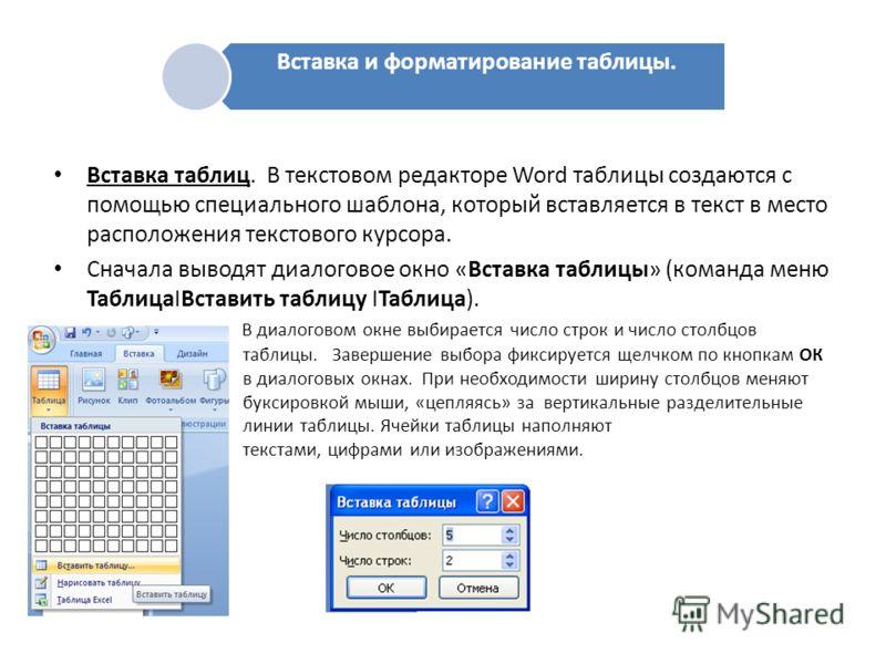 Вставка таблиц. В текстовом редакторе Word таблицы создаются с помощью специального шаблона, который вставляется в текст в место расположения текстового курсора. Сначала выводят диалоговое окно «Вставка таблицы» (команда меню ТаблицаIВставить таблицу