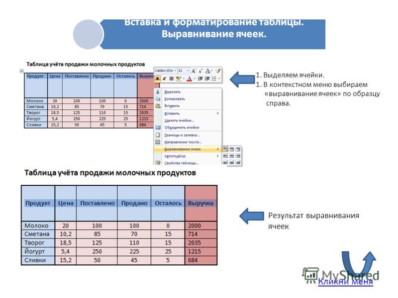 В Вставка и форматирование таблицы. Выравнивание ячеек. 1. Выделяем ячейки. 1. В контекстном меню выбираем «выравнивание ячеек» по образцу справа. Результат выравнивания ячеек Кликни меня